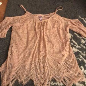 Cold shoulder pink lace top